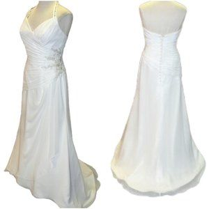 Mori Lee Chiffon Halter Wedding Gown- Sz. 10